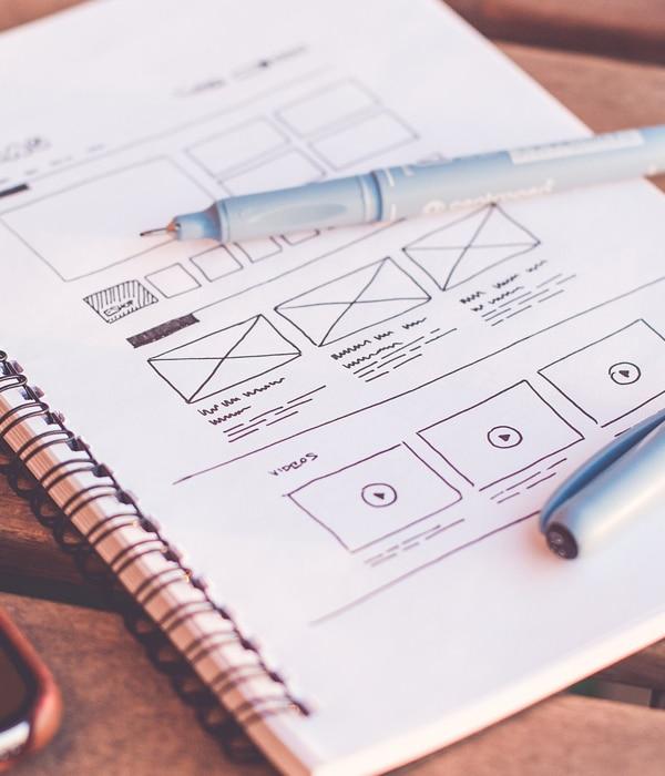 drawing of a web design mockup